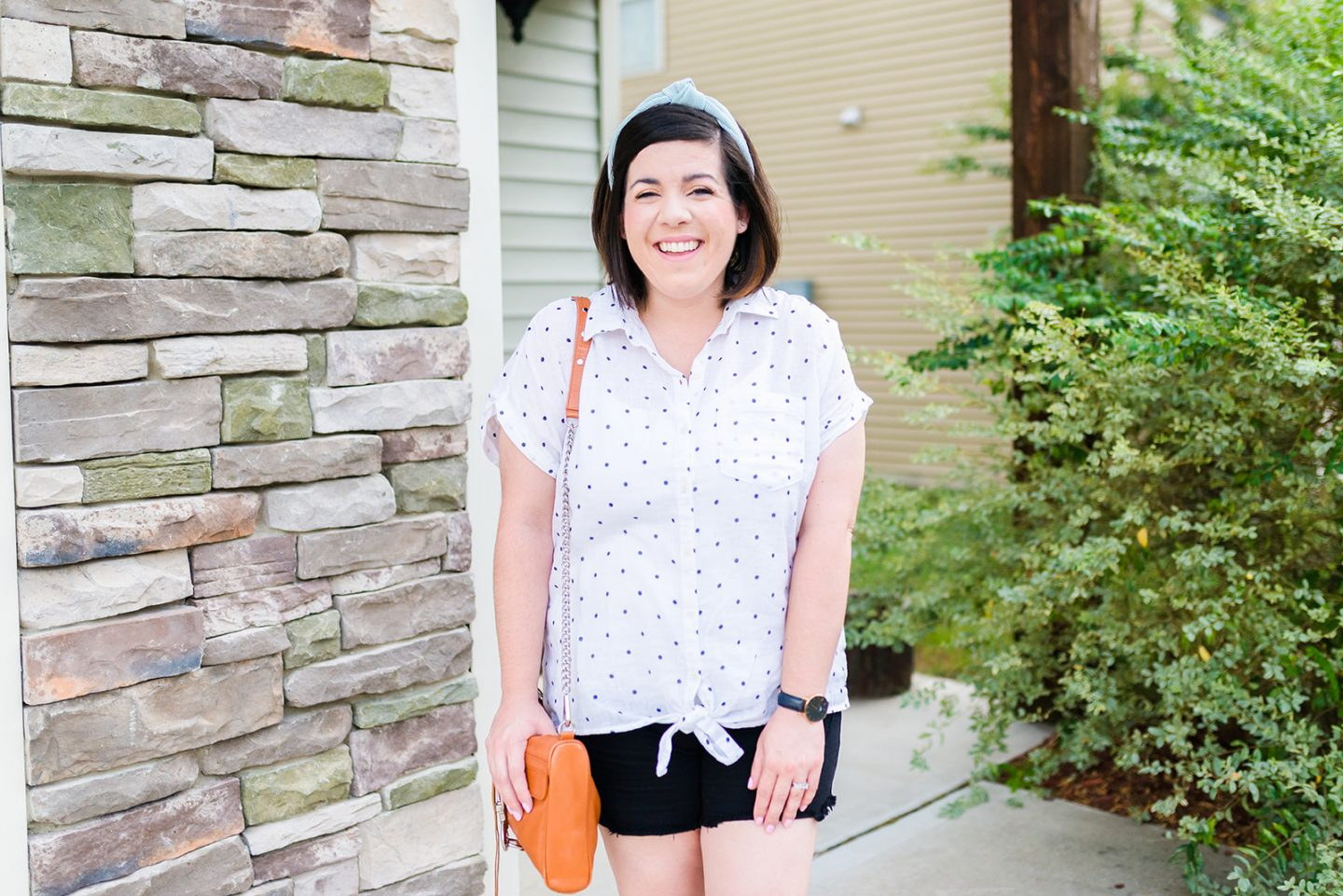 Polka Dot Linen Top for Summer